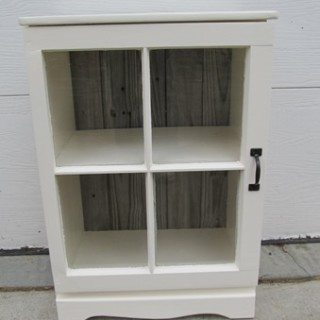 Repurposed Nightstand with Repurposed Window (door)