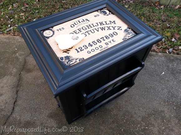 repurpose a game board on a side table