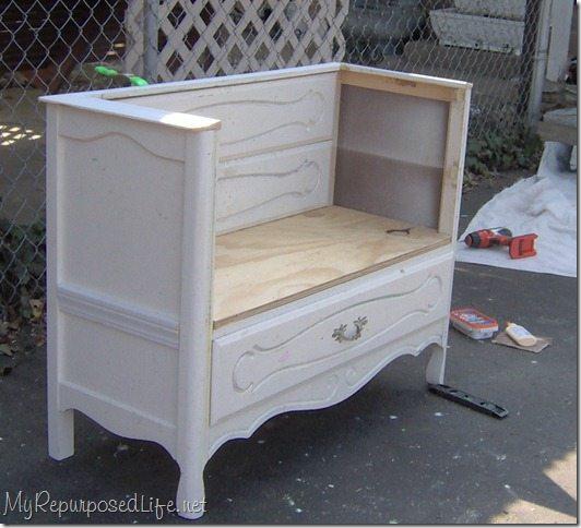 Repurposed Dresser Bench Storage