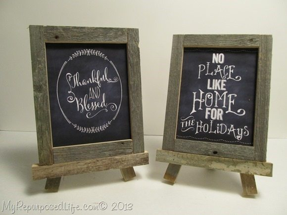 rustic framd printables for Thanksgiving and Christmas