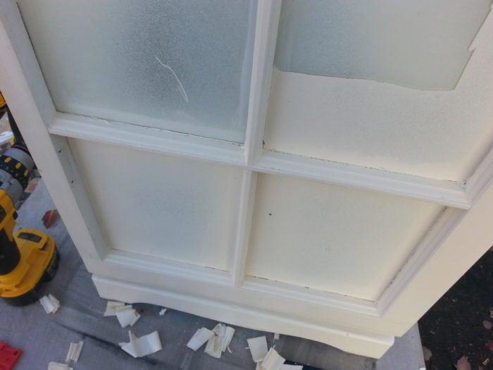 scrape paint on window repurposed nightstand cabinet