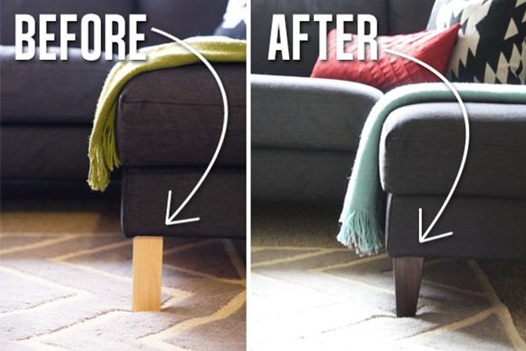 updated legs on ikea couch