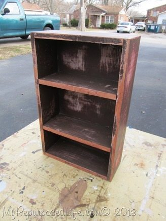 distressed brown box cabinet