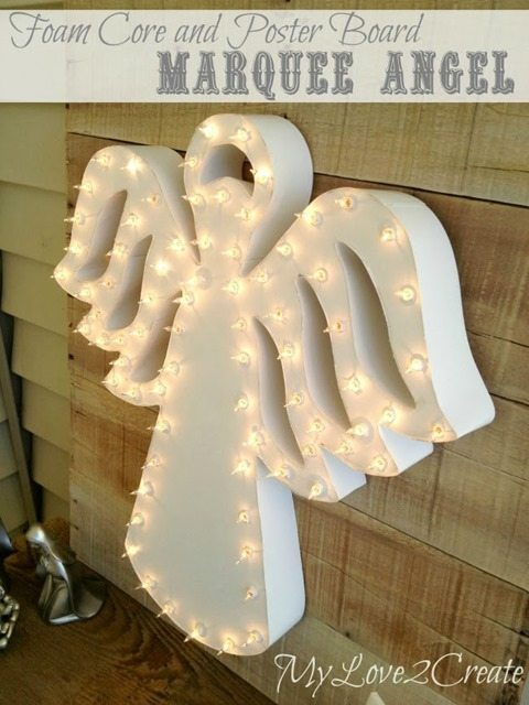 white light-up marquee angel