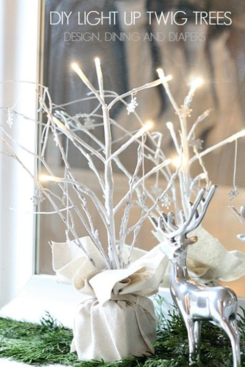 white light up twig display