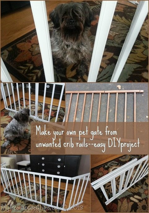 easy DIY pet gate from crib rails