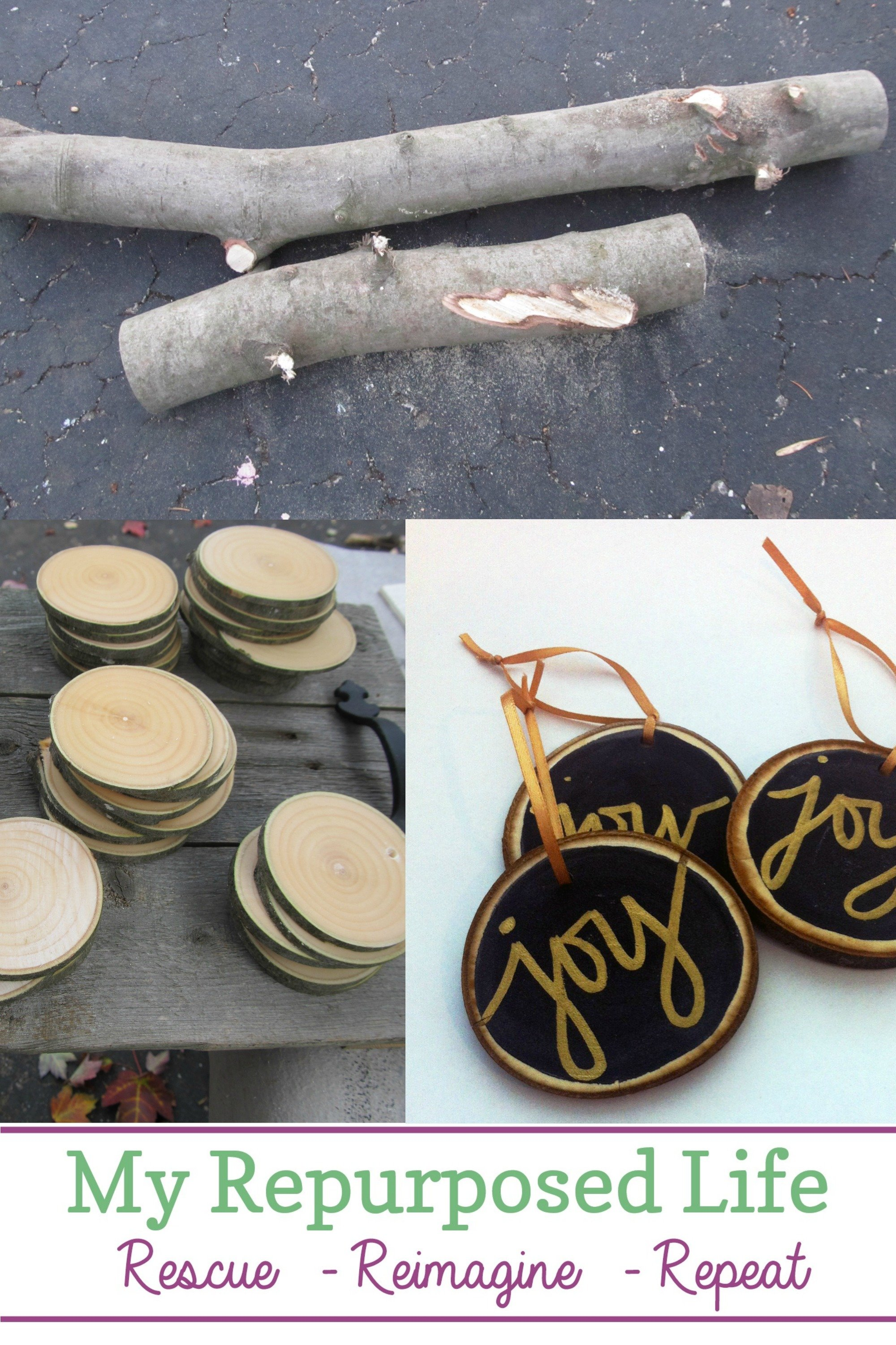 How to make customized wood slice ornaments for your friends or family this Christmas. First, you don't need a chainsaw for this project. If you buy your wood slices online, you don't even need a saw! That's right, all the information you need in one place! #MyRepurposedLife #Christmas #woodslice #ornaments #easy #diy #project via @repurposedlife