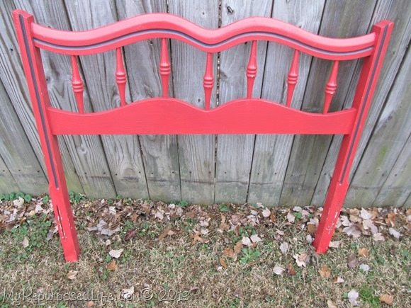 red headboard