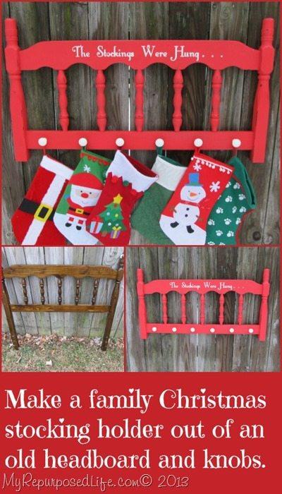 The Stockings Were Hung Repurposed Headboard