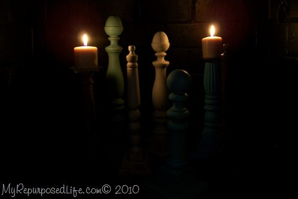 My Repurposed Life-how to make candlesticks from extra bits and pieces of beds, chairs etd.