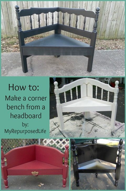 How to make a headboard corner bench from My Repurposed Life