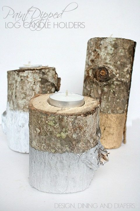 Paint-Dipped-Log-Candle-Holders