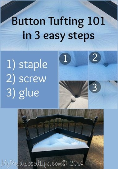 Button tufting 101 in three easy steps shows you that you don't have to drill holes in your tufted seat-but use a staple gun and screws instead. #MyRepurposedLife #repurposed #furniture #button #tufting #easy #diy via @repurposedlife