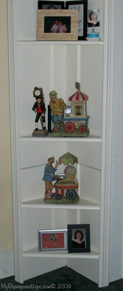 Repurposed Door Into A Corner Shelf My Repurposed Life 174