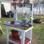 Repurposed Door into a potting bench
