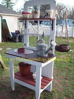 Repurposed Door into a potting bench