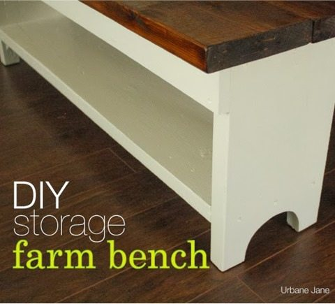 Simple rustic bench with storage shelf