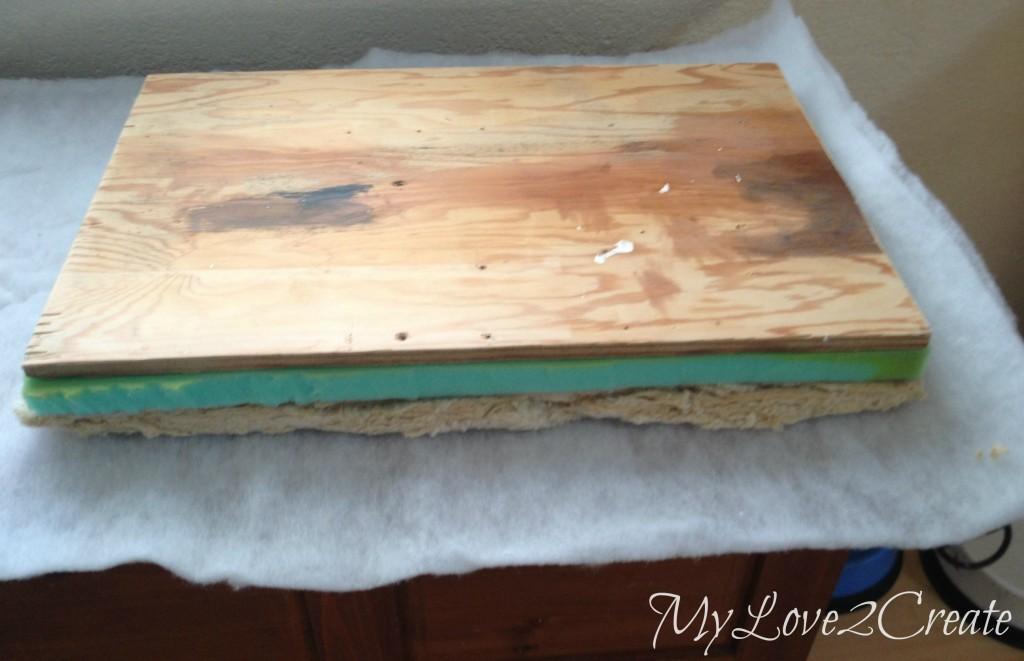 seat wood and padding, adding batting