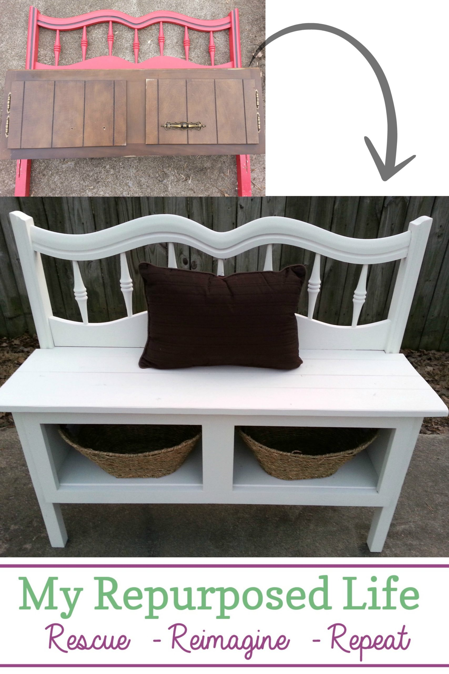 How to make a headboard entryway bench using reclaimed materials. It's surprising how similar in size the kitchen cabinet and the headboard were. It made it relatively easy to marry the two pieces to make a fun bench! #MyRepurposedLife #repurposed #furniture #entryway #bench #headboard  via @repurposedlife