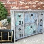 Faux Metal Finish Upcycled Shelf
