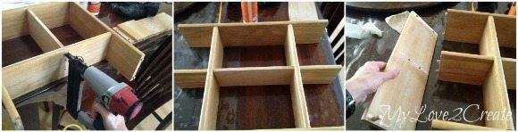 adding center board and putting shelf back together