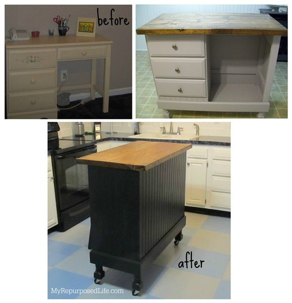 Kitchen Island Made From Old Desk: Up-Cycle Furniture Round-Up From My Repurposed Life