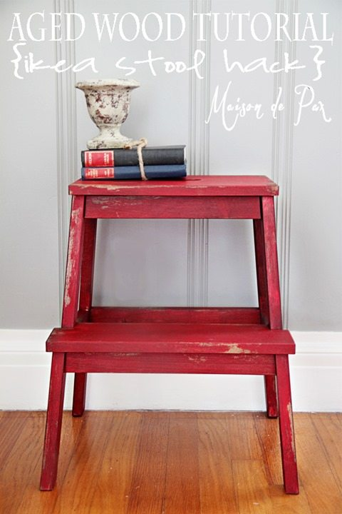 red-stool-aged-wood