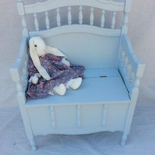 crib repurposed to bench with storage {toy box}