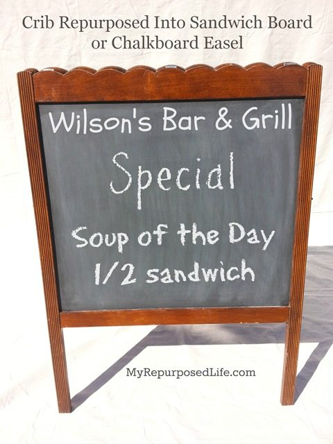 sandwich board sign chalkboard easel made from a repurposed crib