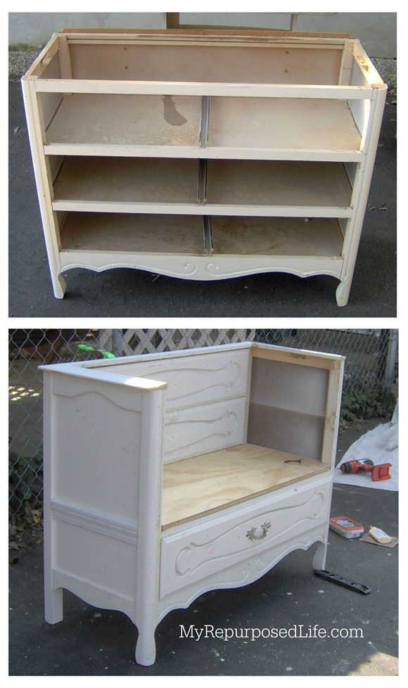 An old dresser into bench using a curb found dresser that needed a lot of TLC. Using drawer fronts for the back of the bench keeps the original look. #MyRepurposedLife #repurposed #upcycle #dresser #bench via @repurposedlife