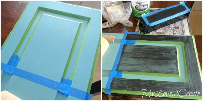 Use painter's tape to tape off for chalkboard paint