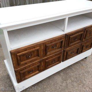 Repurposed Dresser into Media Center (card catalog drawers)