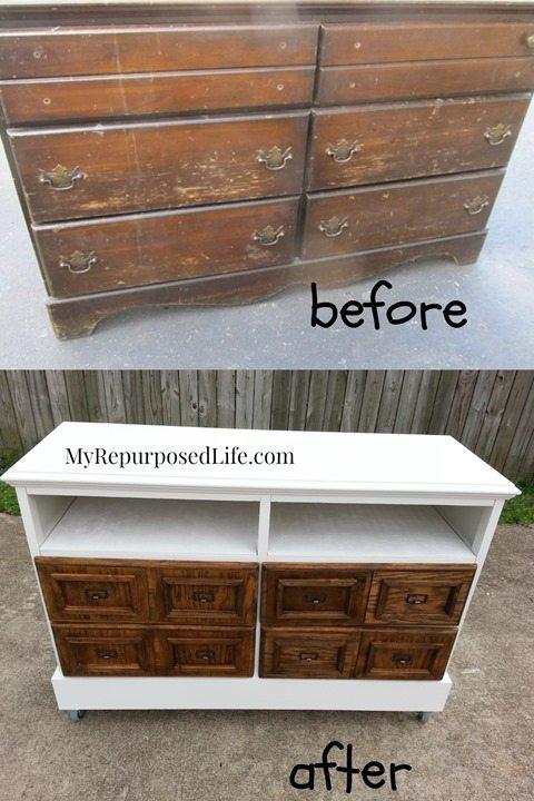 Repurposed Dresser into Media Center (card catalog drawers ...