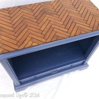 Wooden Chevron Table Top using Shutter Slats