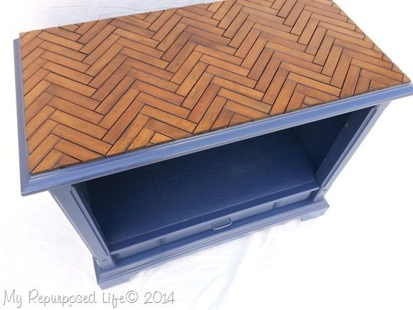 chevron table top repurposed t.v. stand