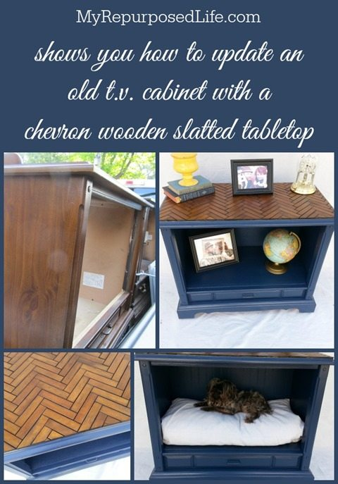 How to do a chevron table top pattern with repurposed shutter slats on an old console tv stand. Some may call it a herringbone table top. Update something you already have! #MyRepurposedLife #repurposed #tvstand #console #tv #cabinet #upcycle #diy #chevron #shutter #slats via @repurposedlife