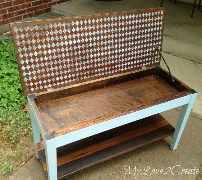 French inspired piano bench inside stencil