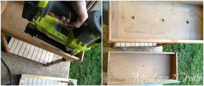 Nailing drawers to base and drilling drain holes