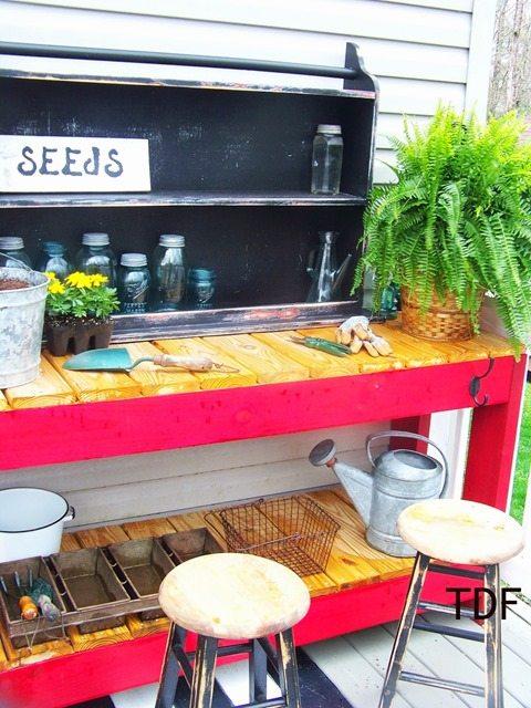 red-potting-bench