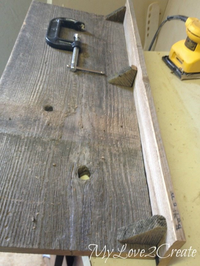 Reclaimed wood fence shelf board