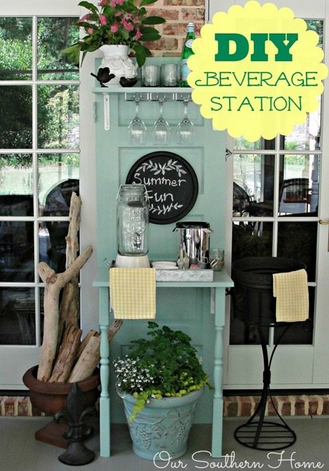 repurposed-door-beverage-station