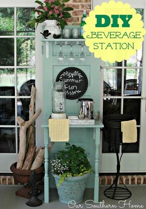 repurposed-door-beverage-station