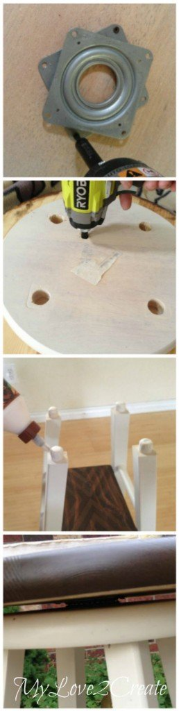 attaching lazy susan to table top and bench seat