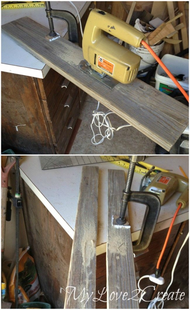 Cutting deck board in half length wise with a jigsaw