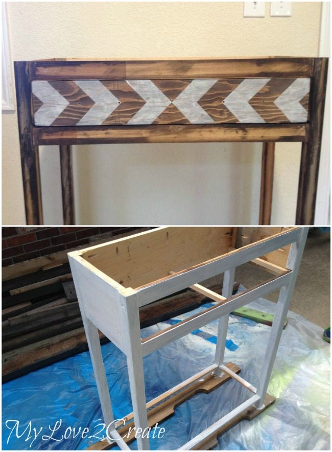 Painting entry table base white