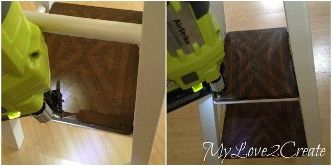 Nailing shelves onto stool rungs