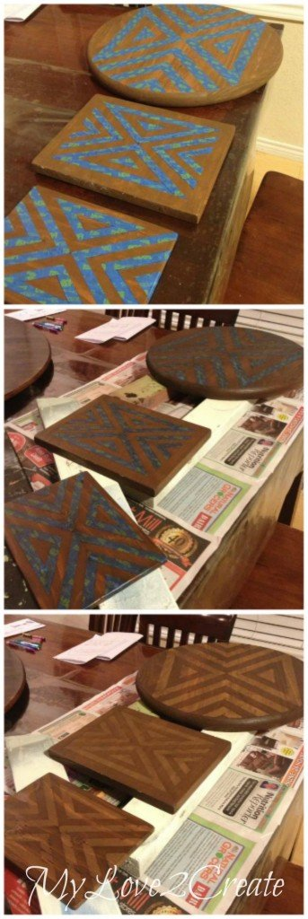 using painters tape and staining to create two toned design