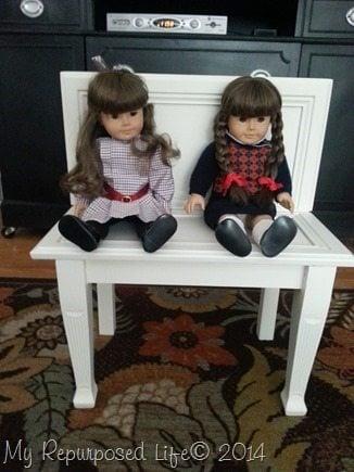 repurposed cabinet door bench for dolls