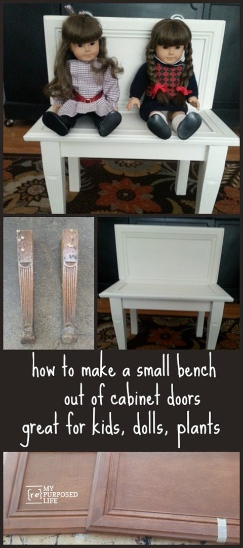 How to make a cute little repurposed cabinet door bench. You can use it for the kids or dolls, or use it on the patio to hold colorful flowers. Step by step directions so you can do it yourself. #MyRepurposedLife #repurposed #cabinet #door #bench #kids #dolls #garden via @repurposedlife