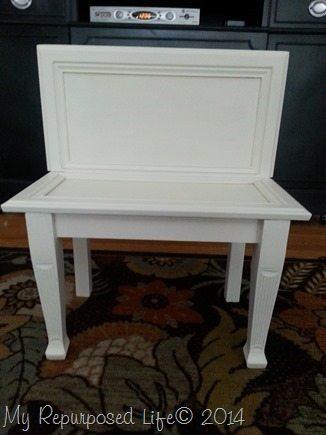 repurposed cabinet door bench